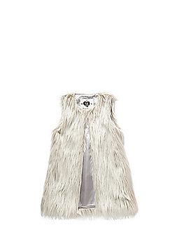F&F Faux Fur Long Line Gilet - Cream