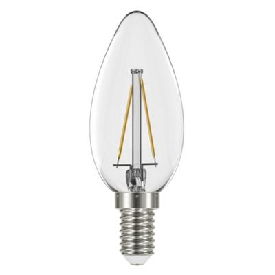 Liteway LW8804 Filament 4w SES E14 Candle LED Bulb, 400 Lumen, Warm White, 40w Traditional Replacement [Energy Class A+]