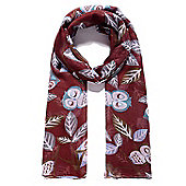 Dark Red Owl Print Scarf