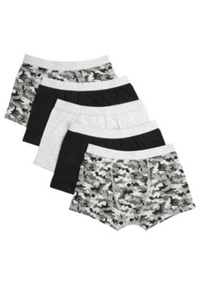 F&F 5 Pack of Camo and Bold Trunks with As New Technology Multi 3-4 years