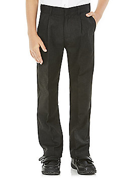 F&F School Boys Pleat Reinforced Knee Trousers - Dark grey