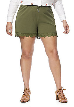 Junarose Lace Trim Drawstring Plus Size Shorts - Khaki