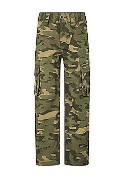 Mountain Warehouse Camo Cargo Kids Trouser - Black & Green