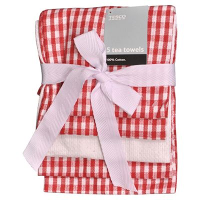 Tesco Red & white gingham 5 pk