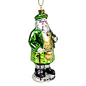 Hanging Glass Scotsman Father Christmas Tree Bauble