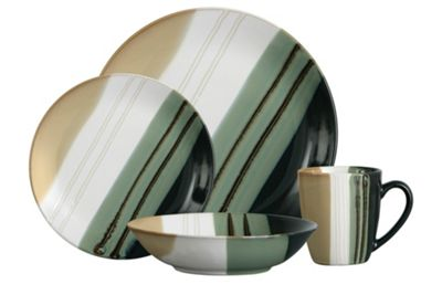 Premier Housewares 16 Piece Monsoon Dinner Set in Green