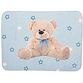Blue Teddy Lightweight Mat 70 x 95 cm Soft Children's Nursery Rug