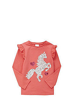 F&F Sequin Unicorn T-Shirt - Pink