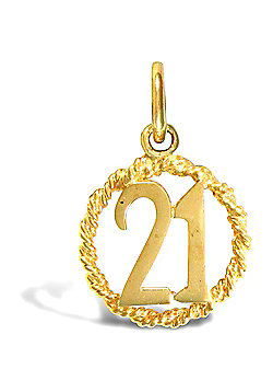 Jewelco London 9ct Solid Gold 21 Rope Pendant,a perfect gift for that special milestone birthday!