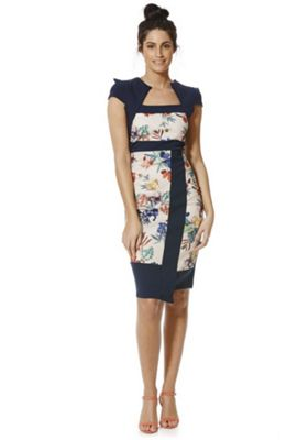 Feverfish Floral Panel Bolero Dress 10 Navy & Multi