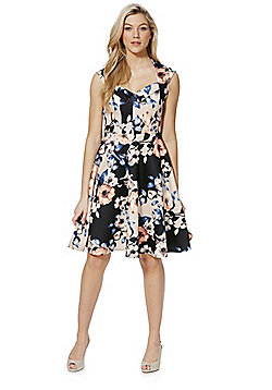 Feverfish Floral Fit and Flare Dress - Black