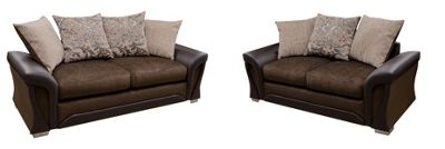 Sorento 3 Seater Sofa + 2 Seater Sofa Chenille Fabric Brown