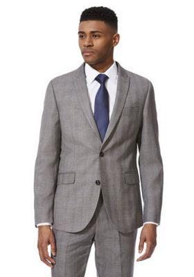 F&F Checked Regular Fit Suit Jacket Grey 46 Chest long length