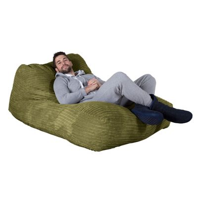 Lounge Pug® Double Day Bed Bean Bag - Cord Lime Green