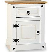 ValuFurniture Corona 1 Drawer 1 Door Bedside Cabinet - White