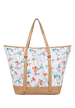 F&F Floral Print Canvas Winged Tote Bag
