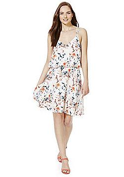 Vila Watercolour Floral Strappy Dress - White