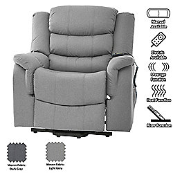Sofa Collection Moselle Riser Recliner with Massage and Heat Function - Light Grey