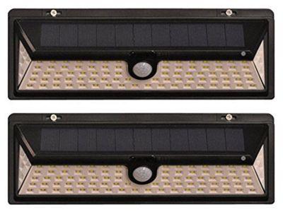 Set of 2 1000 Lumens Solar Security PIR Light in Black (90 LEDs)