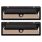 Set of 2 1000 Lumens Solar Security PIR Light in Black (90 LEDs)