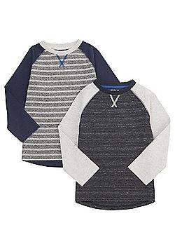 F&F 2 Pack of Raglan Long Sleeve T-Shirts - Multi