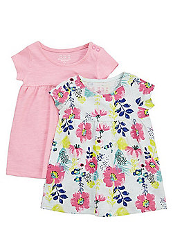 F&F 2 Pack of Tropical and Plain Smock Dresses - Multi