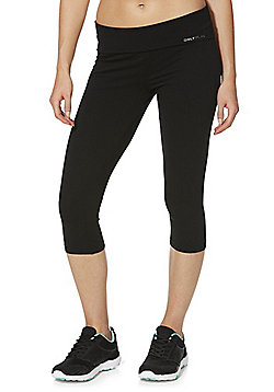Only Play Fold-Over Waistband Capris - Black