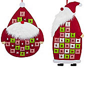 Set of 2 Father Christmas Red Felt Fabric Hanging Advent Calendars