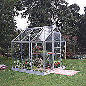 Halls 6x6 Popular Aluminium Greenhouse + Aluminium Base - Toughened Glass