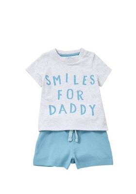 F&F Smiles For Daddy T-Shirt and Shorts Set Grey/Blue 3-6 months