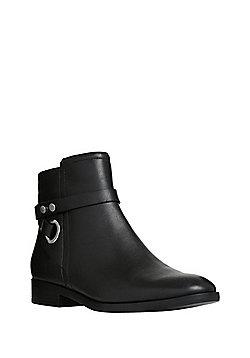 F&F Studded Strap Leather Ankle Boots - Black