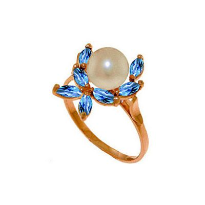 QP Jewellers Blue Topaz & Pearl Ivy Ring in 14K Rose Gold - Size P