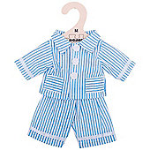 Bigjigs Toys Blue Striped Rag Doll Pyjamas for 34cm Soft Doll - Suitable for 2+ Years