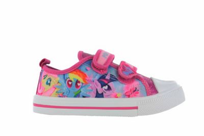 Girls MLP My Little Pony Pink Glitter Hook and Loop Trainers UK Size 10