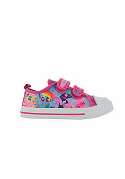 Girls MLP My Little Pony Pink Glitter Hook and Loop Trainers UK Sizes 6 - 12 - Pink