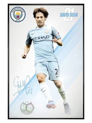 Manchester City FC Gloss Black Framed Silva 16/17 Poster 61x91.5cm