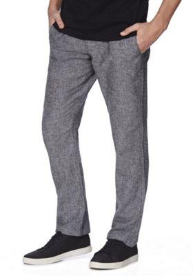 F&F Linen-Blend Drawstring Straight Leg Trousers Grey 34 Waist 32 Leg