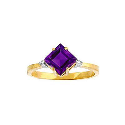 QP Jewellers Diamond & Amethyst Princess Ring in 14K Gold - Size F