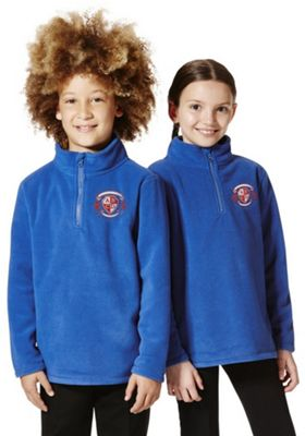 Unisex Embroidered Half Zip School Fleece 3-4 years Blue