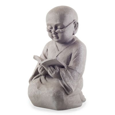 Grey Stone Look Kneeling Reading Buddha Monk Ornament for Home or Garden
