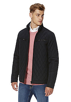 F&F Diamond Quilted Shower Resistant Harrington Jacket - Navy