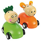 Bigjigs Toys Pull Back Racing Animal (Pack of 2 - Green and Orange)