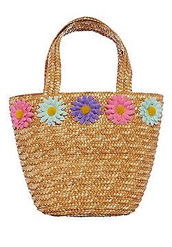 F&F Flower Corsage Straw Bag