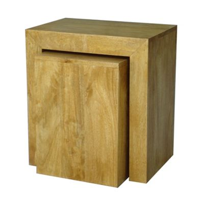 Homescapes Dakota 2 Nest Cube and Table Oak Shade