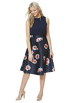 AX Paris Floral Print Skater Dress - Navy
