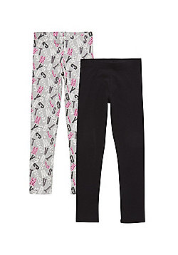 F&F 2 Pack of Letter Print and Plain Leggings - Grey & Black