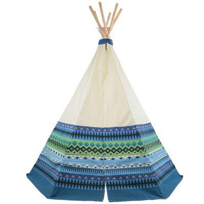 Aztec Teepee Wigwam Play Tent - Blue Children's Tipi Playtent