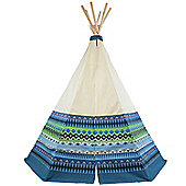 Aztec Teepee Wigwam Play Tent, Blue Children's Tipi