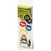 CellarDine Set of 12 Reusable Glass Markers, Lips & Moustaches