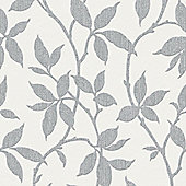 Superfresco Elisa Textured Leaf Print Grey Wallpaper